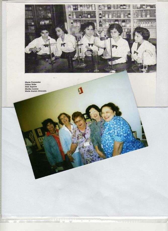 THEN: Ursuline Academy Annual juniors (from left) Gloria Fernandez, Celina Uribe, Dora Aguirre, Martha Lozano, and Maria Aurora Alvarado, 1954. NOW: (from left) Gloria Fernandez, Celina Uribe, Dora Aguirre, Martha Lozano, and Maria Aurora Alvarado during their 50th Class Reunion in 2005. Photo: COURTESY