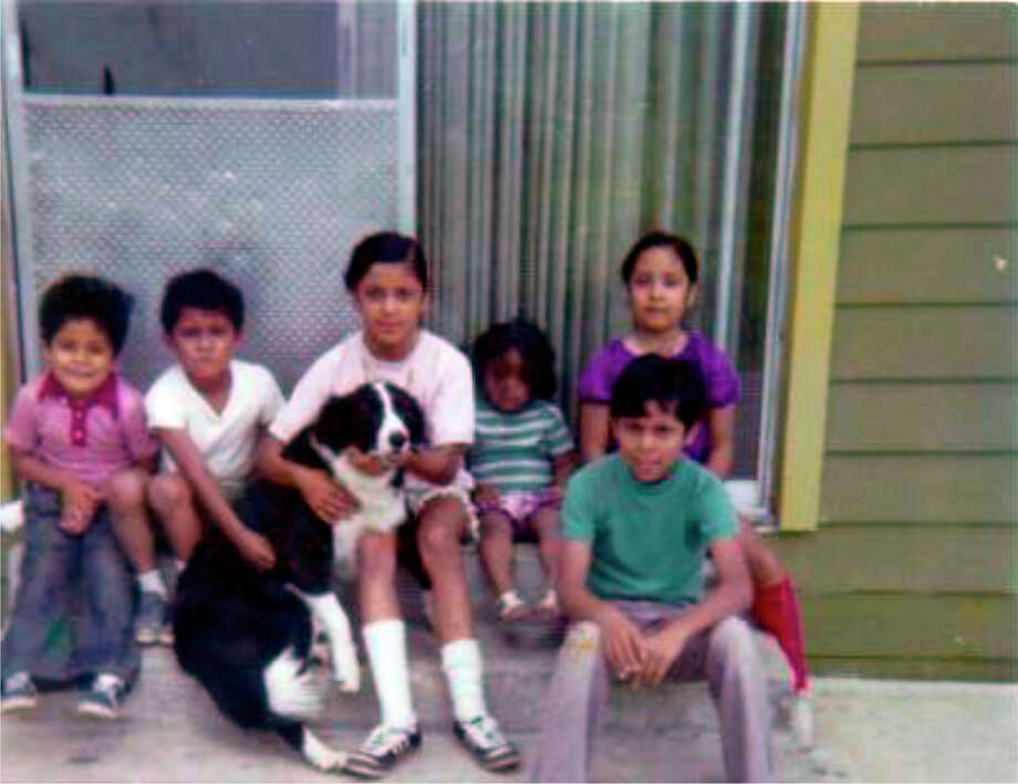 THEN: Top row, from left, Javier Arguello, Sergio Arguello, Rosie Arguello, Vicki Arguello Kilaptrick, Diana Arguello Garza. Bottom row, Rene Arguello, in 1974. Photo: COURTESY