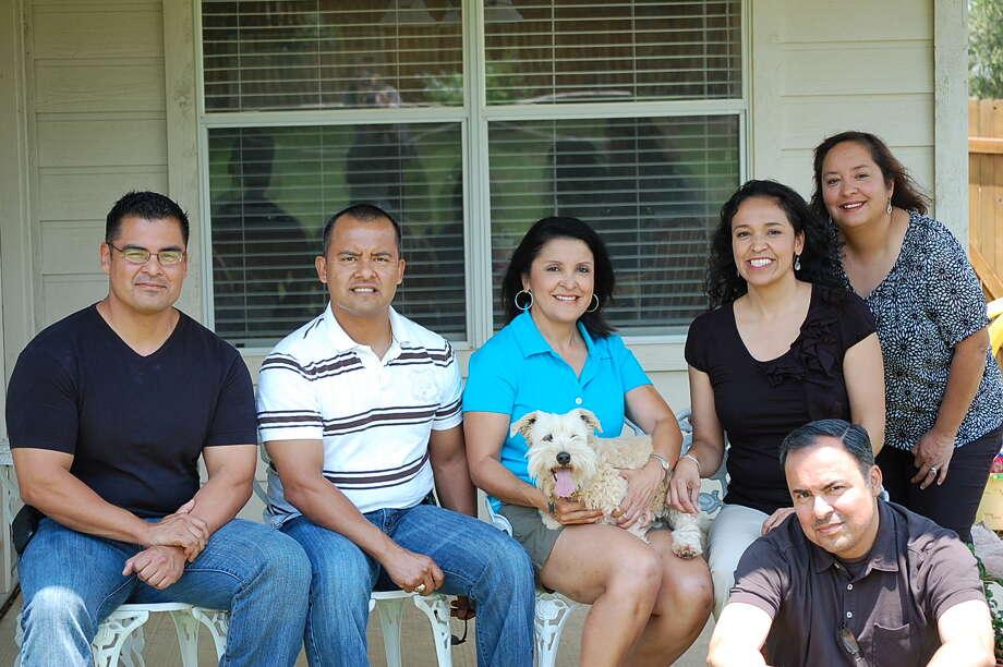 NOW: Top row, from left, Javier Arguello, Sergio Arguello, Rosie Arguello, Vicki Arguello Kilaptrick, Diana Arguello Garza. Bottom row, Rene Arguello, 2012. Photo: COURTESY