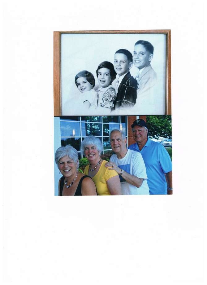 THEN: Brady,  Bridget,  Cary  and  Doyle Beilstein in 1954. NOW:  Brady,  Bridget,  Cary  and  Doyle Beilstein in 2010. Photo: COURTESY