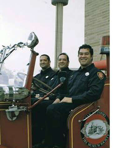 NOW: Lois Cortines' three sons Aaron Cortines (from left), Blaze Cortines and James Planckaert in 2011. Their father Lance is a retired San Antonio Firefighter, their maternal grandfather James 