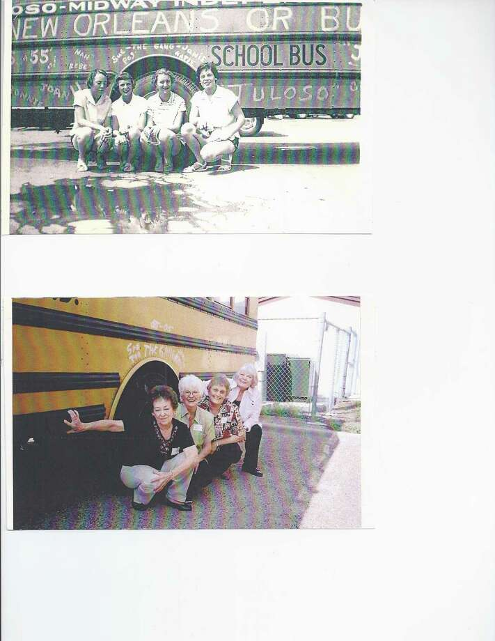 (Top photo, from left) Sue Wilson, Peg Walker, Janie O'Neal, and Katie Baughman in 1955 during a senior class trip to New Orleans from Tuloso Midway High School, Corpus Christi. (Bottom photo, from left) Sue Wilson Boyd, Peg Walker Walls, Janie O'Neal Palmer and Katie Baughman Jackson, 50th class reunion, 2005 Photo: COURTESY