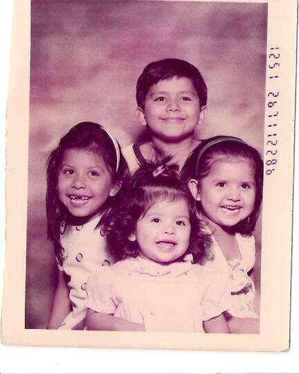THEN: Felix Belmarez's, Felix Jr., (standing) Rachel (left), Rebecca (right) and Rita (bottom). Se