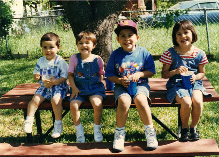 THEN: Matt Carrillo (from left), 2, Sarah Cook, 3, Jakob Carillo, 5, Kristin Cook, 7 in 1996