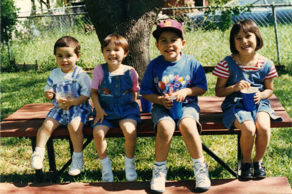 Matt Carrillo (from left), 2, Sarah Cook, 3, Jakob Carillo, 5, Kristin Cook, 7 in 1996