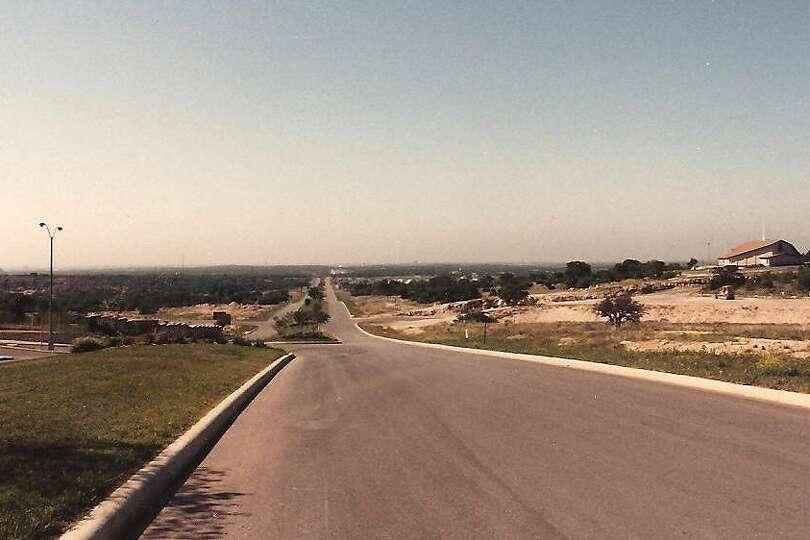 THEN: Stone Oak Parkway, looking south from just north of Knights Cross, April, 1987. Photo by Al Cr