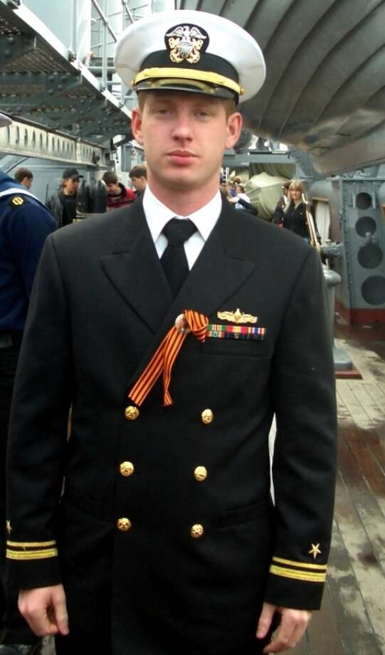 Now: Navy Lieutenant Vance Villarreal is currently stationed at Pearl Harbor aboard the USS Chosin Missile Cruiser. The photo was taken in 2010 St Petersburg, Russia. Photo: COURTESY