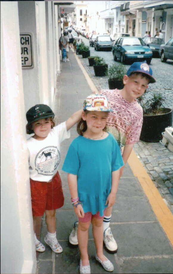 THEN: Siblings Kyle (from left), Kara and Kent Zambrana in San Juan Puerto Rico, 1990. Photo: COURTESY