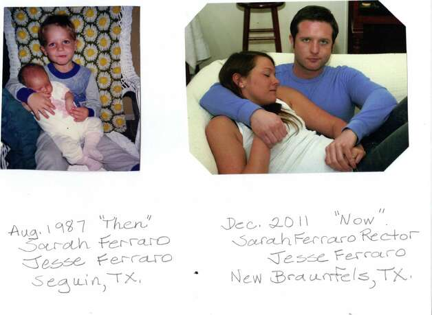 THEN: 1987, Jesse Ferraro holds his sister Sarah in Seguin. NOW: 2011, Jesse holds Sarah Ferraro Rector in New Braunfels. Photo: COURTESY