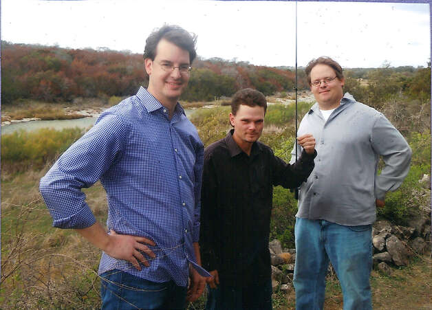 NOW: David Merritt (from left) first cousin to brothers, Jason Harms (center) and Douglas Harms in 1987. The location in both pictures is their beloved, rustic property that has been in the family for more than 150 years, and was purchased by their great, great, great grandfather, Charles William Pressler. He was a gifted cartographer who worked for the General Land Office in Austin, Texas from 1850 to 1899, and was the first to survey and create maps for many areas of Texas. Photo: COURTESY