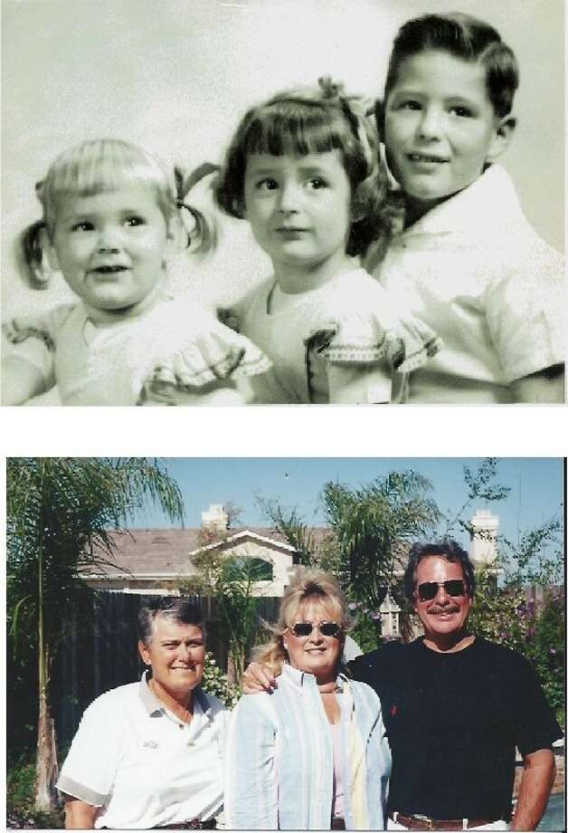 THEN: 1951 Oxnard, Calif. (L to R) Siblings Karen Ryan, Suzanne Singleton and George Friedrich. NOW: 2003 Karen Ryan, 54, Suzanne Singleton, 56, and George Friedrich, 59 Photo: COURTESY
