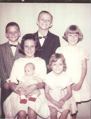 THEN: 1966. Siblings (Top L to R) Preston, Gary and Chris Vest.  (Bottom L to R), Terri Vest, she is holding Bill Vest, and next to them is Cheryl Vest. Photo: COURTESY