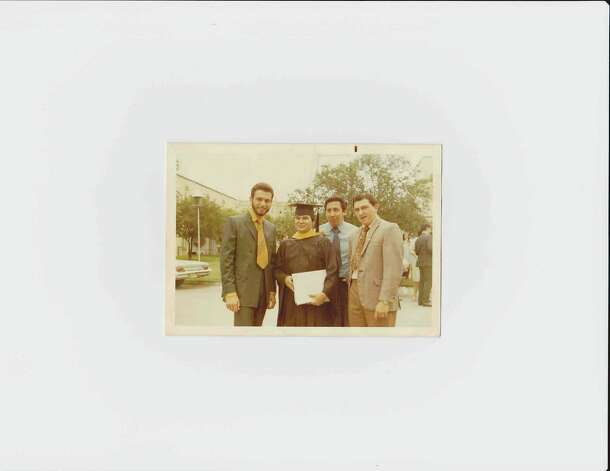 THEN: May, 1970 following John Trevino's graduation from Our Lady of the Lake University. From left is Jesse DeLa Rosa, John Trevino, Frank Pena, and Rudy Ruiz. Photo: COURTESY
