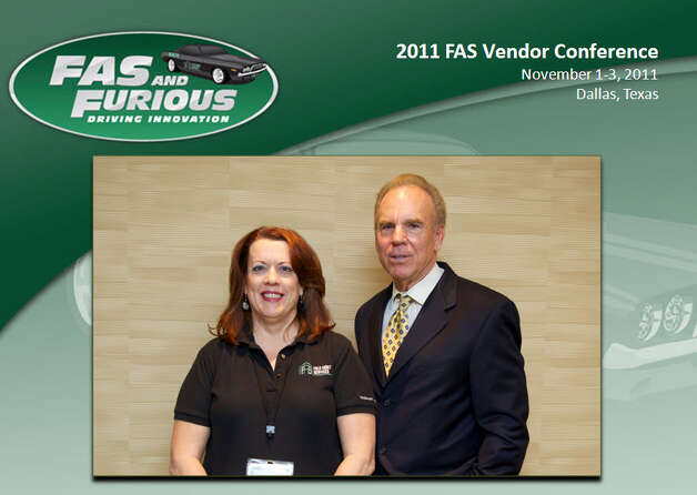NOW: Elizabeth Dalton and Cowboys quarterback Roger Staubach at a Field Assets Services LLC national conference at the Sheraton Hotel, Dallas 2011. Photo: COURTESY
