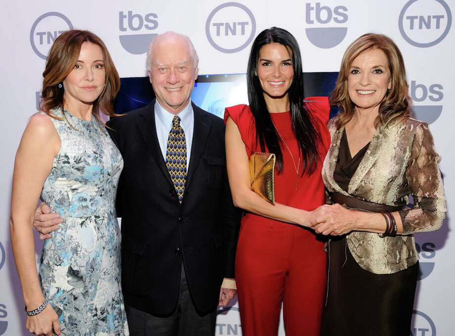 Actors, from left, Christa Miller, Larry Hagman, Angie Harmon, Linda Gray attend the TNT and TBS upfront presentation at the Hammerstein Ballroom, Wednesday, May 16, 2012 in New York. (AP Photo/Evan Agostini) Photo: Evan Agostini, Associated Press / AGOEV