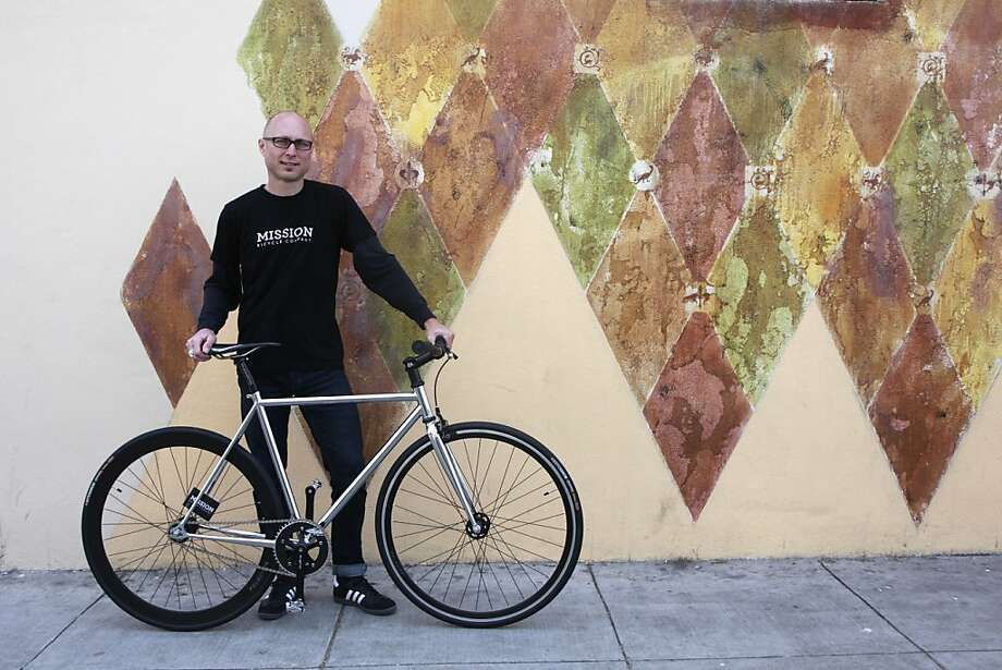 "Brian Richard, is one of the first bike messengers to use a ""fixie"" in SF in the early 90s. He is now the manager of the custom bike division at Mission Bicycle Company which specializes in fixed gear bikes in San Francisco, Calif. , on Tuesday, May 1st , 2012. Photo: Jill Schneider, The Chronicle"