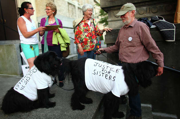 Stellablue, left, and Lily, right, both Newfoundlands, wear T-shirts as their owner Tom Brunton holds their leashes during a vigil offering support for Catholic nuns. Photo: JOSHUA TRUJILLO / SEATTLEPI.COM