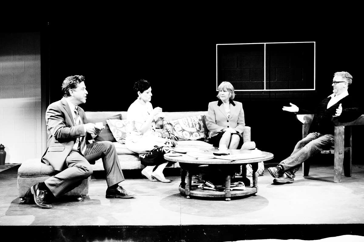 """Rick Frederick (from left), Gloria Sanchez, Christy Huffman and Andrew Thornton star in AtticRep's """"God of Carnage."""""""