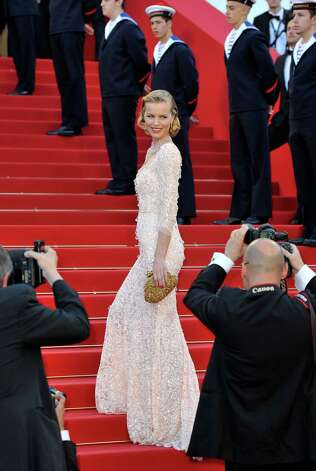 "CANNES, FRANCE - MAY 16:  Model Eva Herzigova attends opening ceremony and ""Moonrise Kingdom"" premiere during the 65th Annual Cannes Film Festival at Palais des Festivals on May 16, 2012 in Cannes, France. Photo: Gareth Cattermole, Getty Images / 2012 Getty Images"