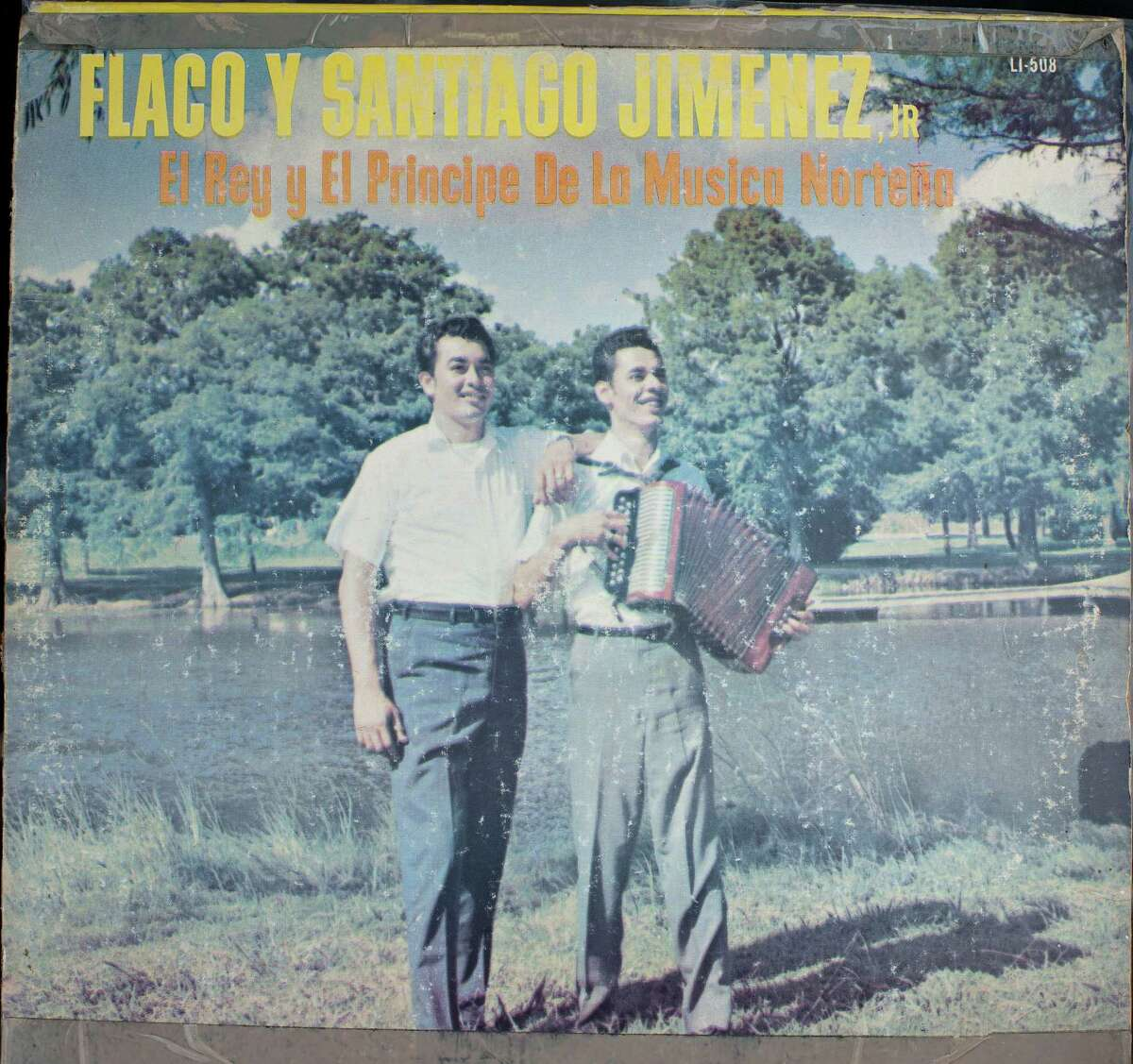 Vintage Flaco and Santiago Jimenez, Jr. album cover photographed Tuesday, May 15, 2012, at Woodlawn Lake in San Antonio.
