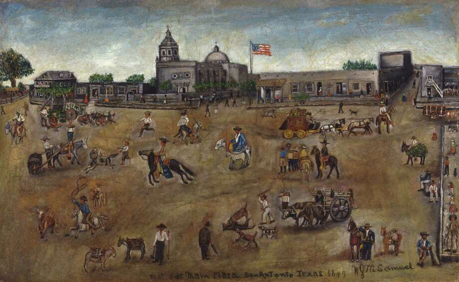 """West Side Main Plaza, San Antonio, Texas 1849"" by William G.M. Samuel is in exhibit in the South Texas Heritage Center's Texas Art Gallery"