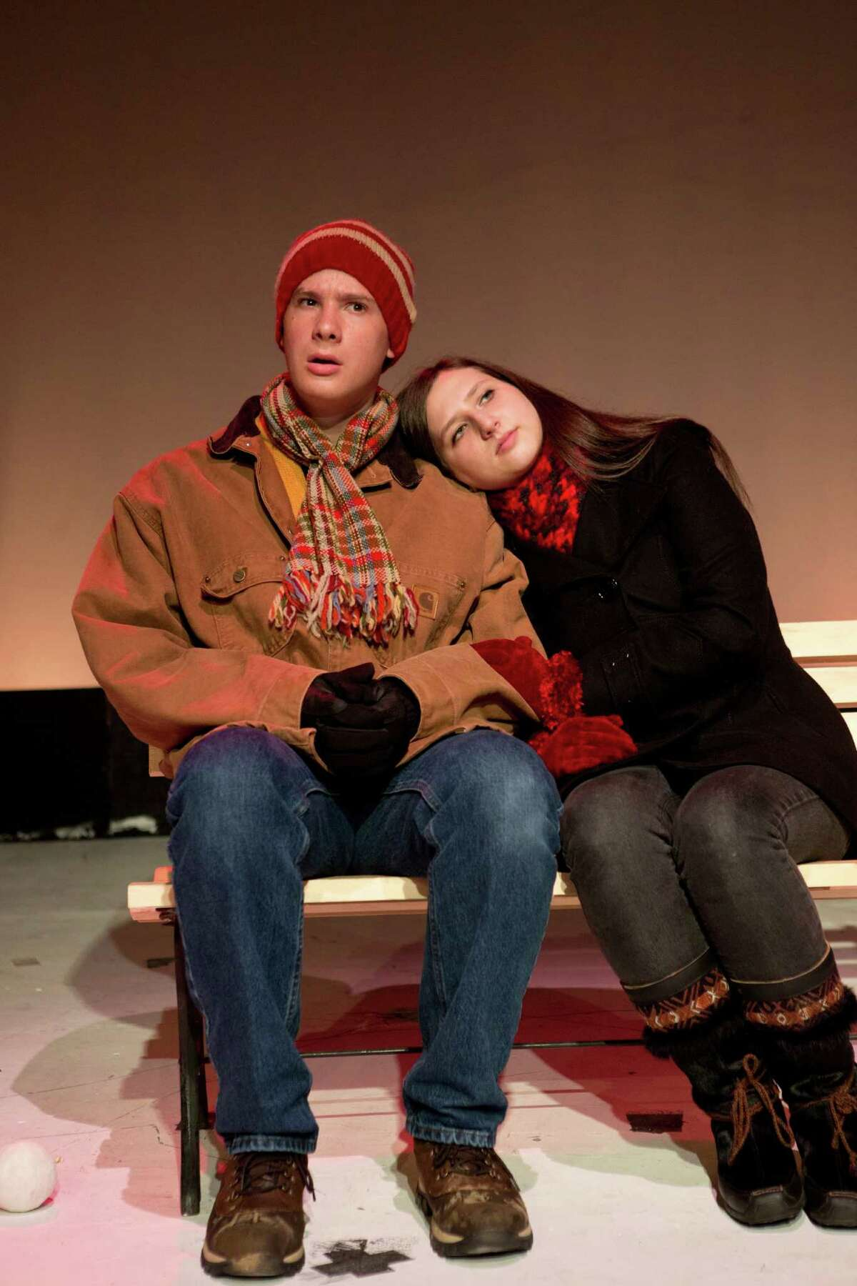 """Staples High senior Gregg Bonti and junior Alexandra Rappaport rehearse a vignette from the Staples Players' production of the """"Almost, Maine,"""" the whimsical romantic comedy playing May 24, 25 and 26."""