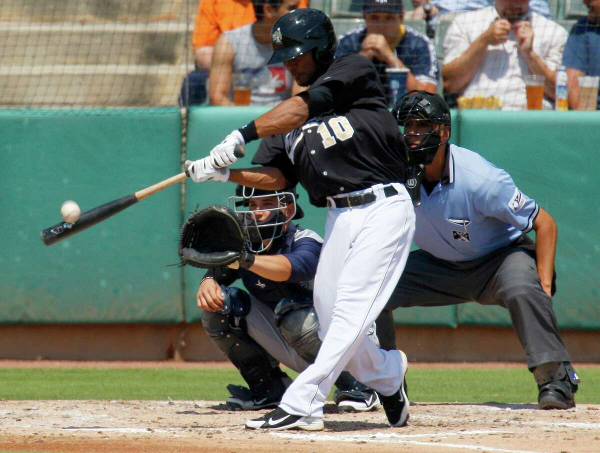 Missions short stop Jeudy Valdez connects with the ball Wednesday, May 16, 2012, during the Missions' game against the Corpus Christi Hooks at Wolff Stadium.