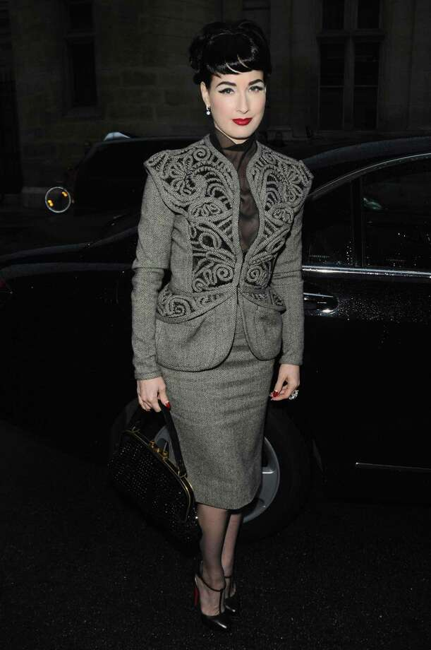 Dita Von Teese arrives at the Jean Paul Gaultier show Sept. 30, 2008 in Paris. Photo: Francois Durand, Getty Images / 2008 Getty Images