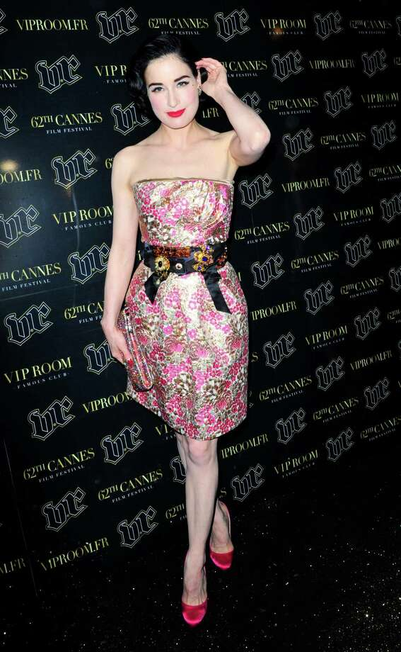 Dita's 5-foot-4, 114-pound frame is perfect for light, springy dresses like this, a Dolce & Gabbana creation, which she wore at Cannes on May 18, 2009. Photo: Simon James, Getty Images / 2009 Getty Images