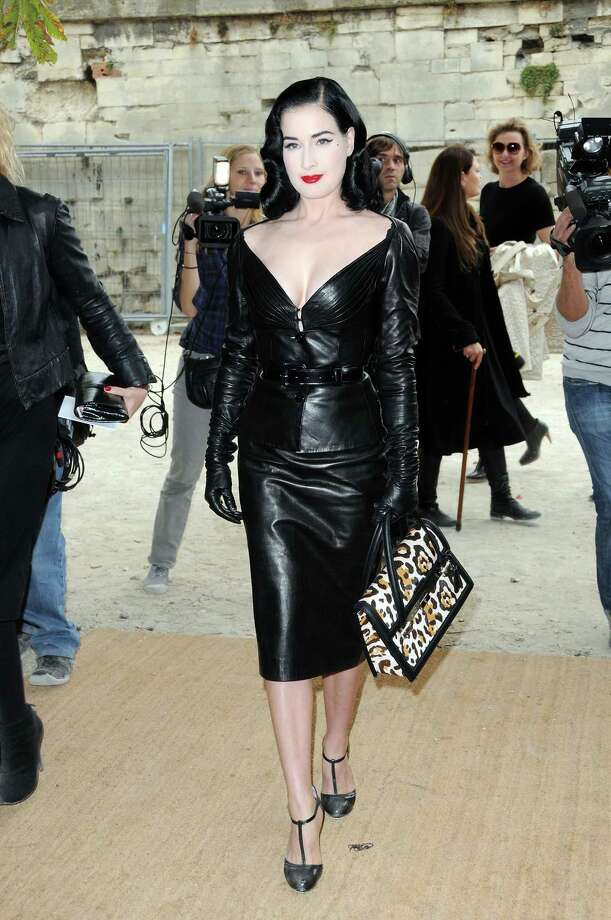Once again, Dita honors the subject of a fashion event by wearing the label's creation. She's smashing in leather at the Christian Dior runway show as part of Paris Fashion Week on Oct. 2, 2009. Photo: Pascal Le Segretain, Getty Images / 2009 Getty Images