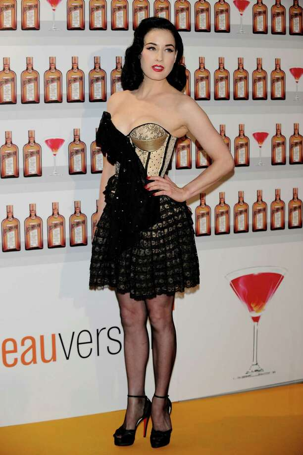 A skimpier, more interesting outfit by Dior on Dita at a Cointreau photocall on May 27, 2010 in Madrid, Spain. Photo: Carlos Alvarez, Getty Images / 2010 Getty Images