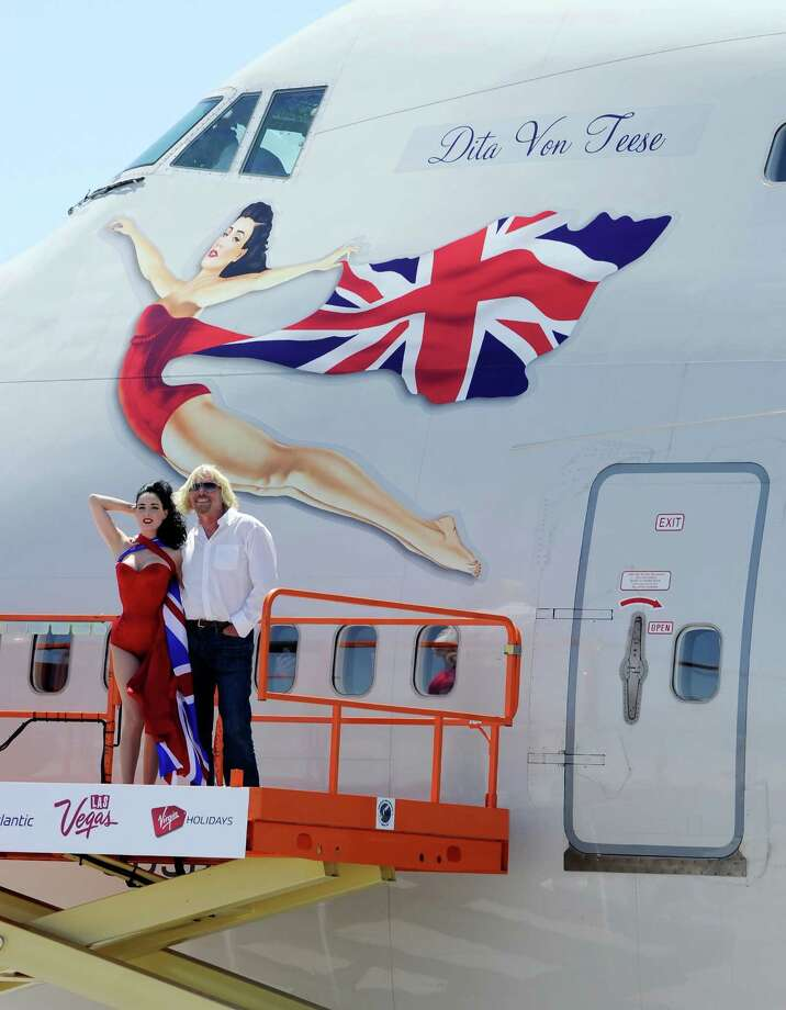 Dita's such an icon, she's even painted on the side of a jumbo jet. Here she is with founder and president of Virgin Group Sir Richard Branson in front of a painting of here on the side of a Virgin Atlantic Airways 747-400 aircraft at McCarran International Airport in Las Vegas on June 15, 2010. Branson was celebrating his airline's 10th anniversary of flying between London and Las Vegas. Photo: Ethan Miller, Getty Images / 2010 Getty Images
