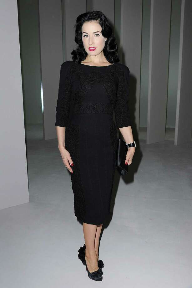 Dita attends the Elie Saab show wearing one of the designer's creations during Paris Fashion Week on Oct. 6, 2010 in Paris. Photo: Pascal Le Segretain, Getty Images / 2010 Getty Images
