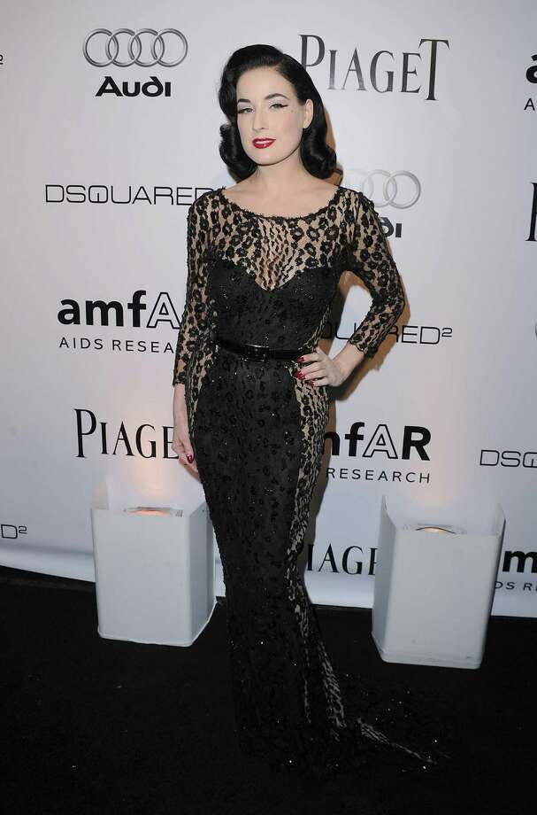 Yet another new designer for Dita as she models a Zuhair Murad design at the amfAR Inspiration Gala on Oct. 27, 2010. Photo: Jason Merritt, Getty Images / 2010 Getty Images