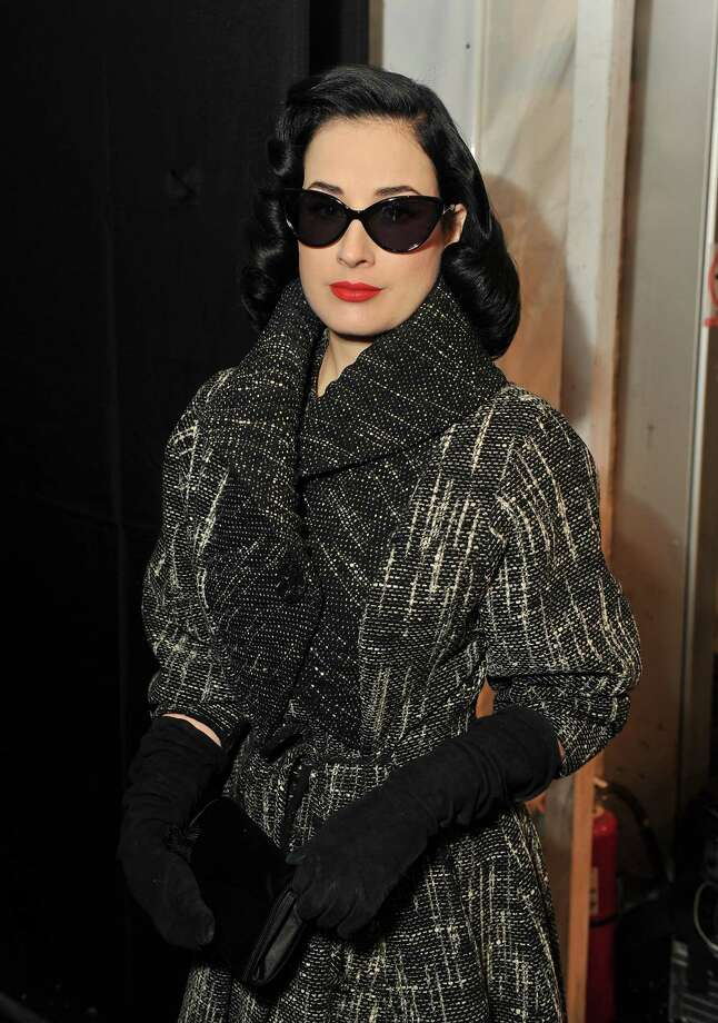 Dita looks like a '50s icon as she poses backstage at the Jenny Packham show on Feb. 13, 2012 in New York. Photo: Stephen Lovekin, Getty Images For Mercedes-Benz F / 2012 Getty Images