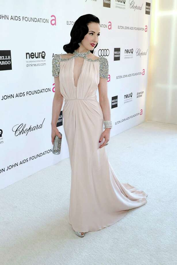 Dita arrives in Jenny Packham at the 20th annual Elton John AIDS Foundation Academy Awards Viewing Party on Feb. 26, 2012 in Beverly Hills, Calif. Photo: Larry Busacca, Getty Images For EJAF / 2012 Getty Images