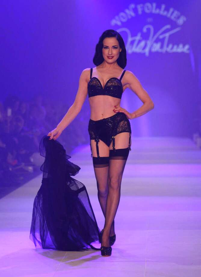 "The following day, Dita showcases designs by her own ""Von Follies"" collection on the runway during L'Oreal Melbourne Fashion Festival in Melbourne, Australia. Photo: Jennifer Polixenni Brankin, Getty Images / 2012 Getty Images"