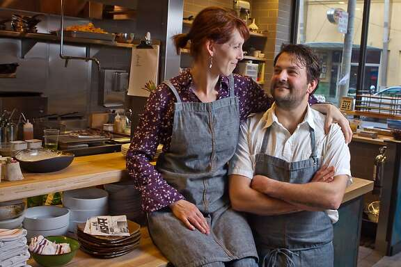 Owner/chef husband and wife team Stuart Brioza and Nicole Krasinski in the kitchen of State Bird Provisions in San Francisco, Calif., on Saturday, February 25th, 2012.