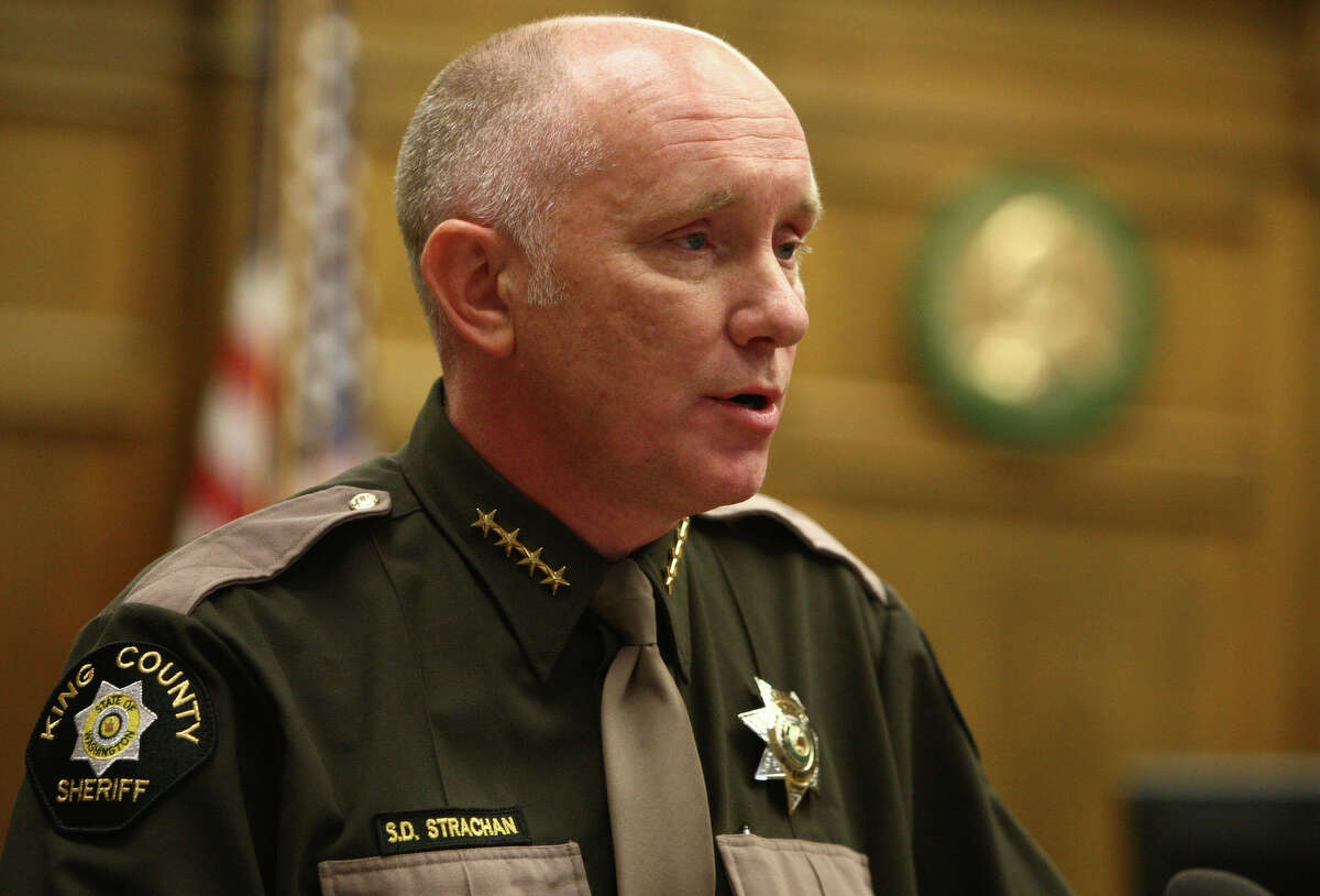 King County Sheriff Steve Strachan speaks after he participated in a swearing-in ceremony.