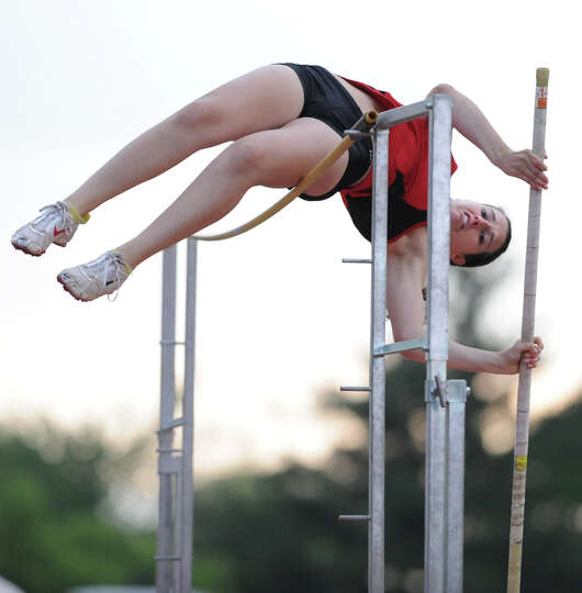 Guilderland senior Alicia Switser attemps a 10' pole vault during the Suburban Council girls track m