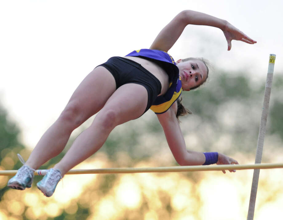 Ballston Spa junior Olivia Matthews attemps a 10' pole vault during the Suburban Council girls track meet Wednesday, May 16, 2012 Colonie, N.Y.  (Lori Van Buren / Times Union) Photo: Lori Van Buren