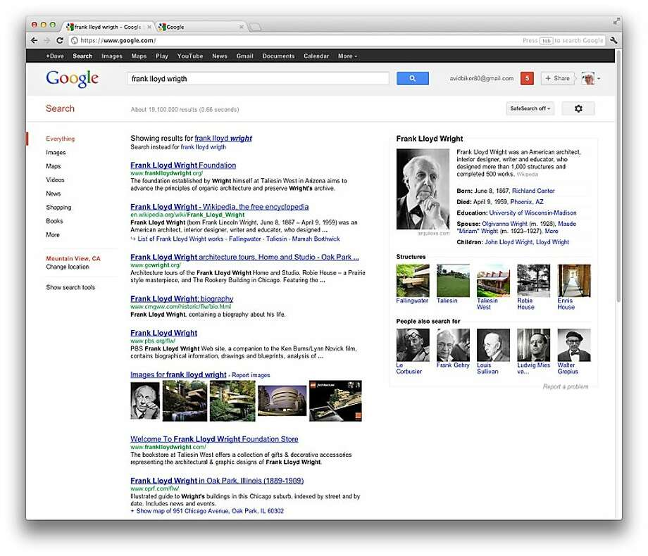 A screenshot from Google's revamped search engine. Photo: Google.com