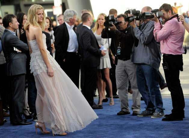 "Brooklyn Decker, a cast member in ""Battleship,"" poses at the American premiere of the film, Thursday, May 10, 2012, in Los Angeles. The film is released in theaters this Friday, May 18. Photo: Chris Pizzello, Associated Press"