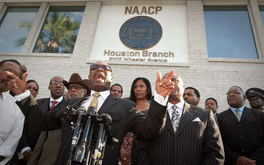 Bishop James Dixon expresses his disappointment at the acquittal of former HPD officer Andrew Blomberg  at a news conference called by local leaders Wednesday at the NAACP Houston Branch office. Photo: Nick De La Torre / © 2012  Houston Chronicle