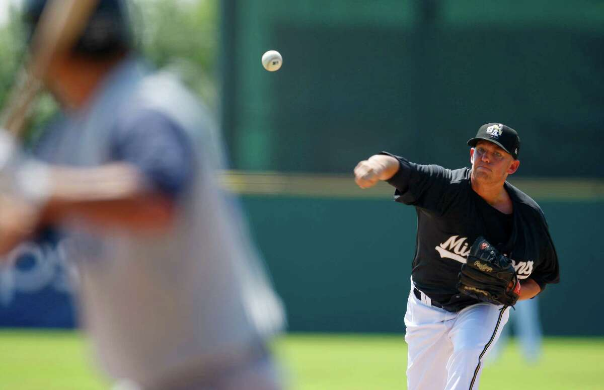 Missions pitcher Hayden Beard lets the ball fly Wednesday, May 16, 2012, against the Corpus Christi Hooks at Wolff Stadium.