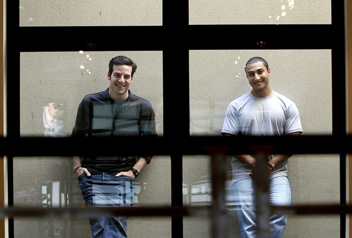 James Beshara, left, and Khaled Hussein co-founded Crowdtilt, a crowd-funding website. They are photographed at their offices in San Francisco, Calif., Friday, May 4, 2012.