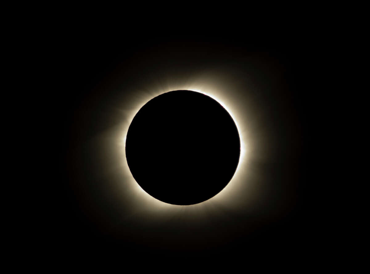 The sun is seen partially covered by the moon on Easter Island, 3700 kilometers off the Chilean coast in the Pacific Ocean, on July 11, 2010. A total solar eclipse began its 11,000-kilometer (6,800-mile) arc over the Pacific Sunday, plunging remote islands into darkness in a heavenly display set to climax on Easter Island. AFP PHOTO/Martin Bernetti