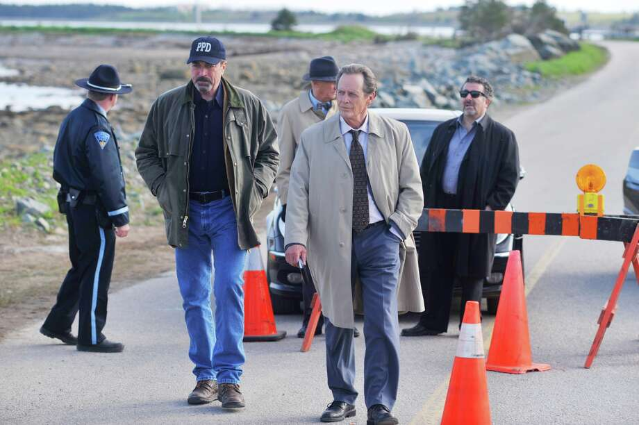 Paradise Police Chief Jesse Stone (Tom Selleck, right), State Homidcide Commander Healy (Stephen McHattie, left), Hasty Hathaway (Saul Rubinek, back) inspect the crash scene in JESSE STONE: BENEFIT OF THE DOUBT, the eighth in the series of television movies which will be broadcast Sunday, May 20 (9:00-11:00 PM, ET/PT) on the CBS Television Network Photo: CBS