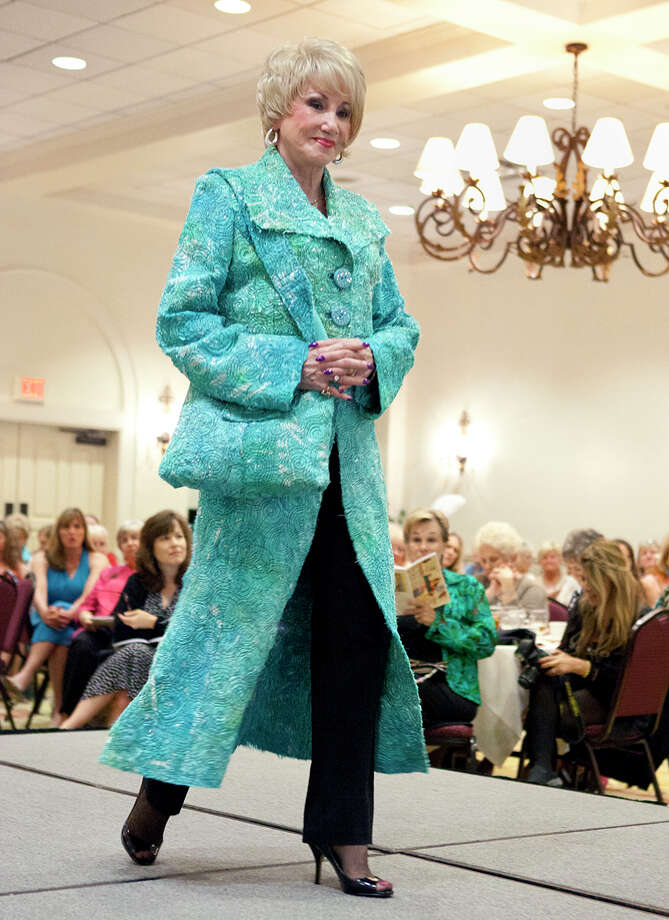 A model on the runway at the Fiber Artists of San Antonio's annual runway show at Oak Hills Country Club. Photo by Jamie Karutz. Photo: Jamie Karutz, SPECIAL TO THE EXPRESS-NEWS / SAN ANTONIO EXPRESS-NEWS