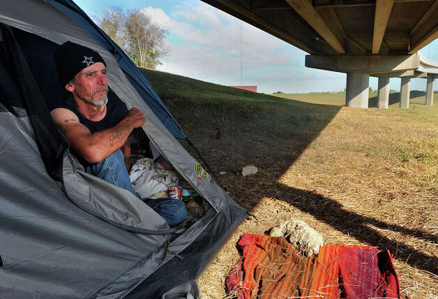 George Walls is one of three living under a downtown onramp to Interstate 10. Walls Said he first began living on the street trying to track down the person who shot his brother in 1993. Photo taken Thursday, December 29, 2011 Guiseppe Barranco/The Enterprise Photo: Guiseppe Barranco, STAFF PHOTOGRAPHER / The Beaumont Enterprise